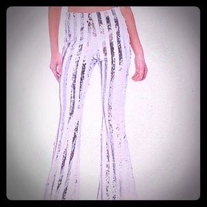 Striped sequin flare Pants